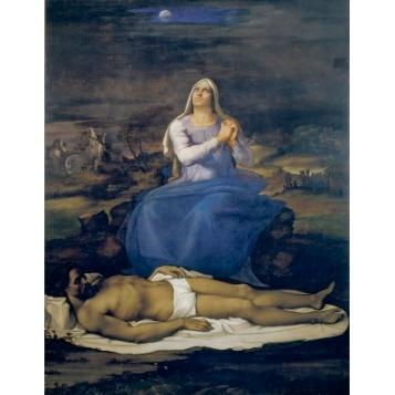 Sebastiano del Piombo, after partial designs by Michelangelo, Lamentation over the Dead Christ (Pietà), about 1512-16, Oil on poplar, 248 × 190 cm, Museo Civico, Viterbo, © Comune di Viterbo