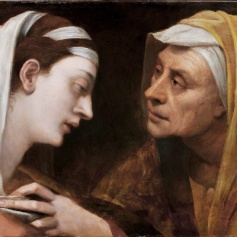 Sebastiano del Piombo, Mary and Elizabeth (The Visitation), about 1518-19, Oil on paper adhered to canvas, 42 x 57 cm, Collection Roberto Sgarbossa, © Photo courtesy of the owner