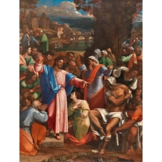 Sebastiano del Piombo, incorporating designs by Michelangelo, The Raising of Lazarus, 1517-19, Oil on synthetic panel, transferred from wood, 381 x 289.6 cm, © The National Gallery, London (NG1)