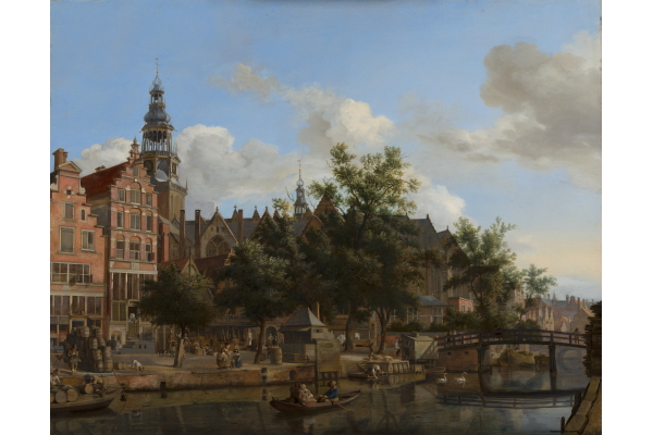 Jan van der Heyden, View of the Oudezijds Voorburgwal with the Oude Kerk in Amsterdam, c.1670